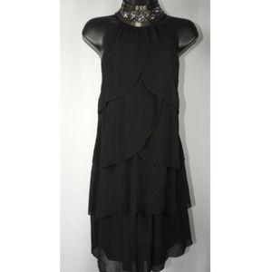 Black Layered Studded Collar Dress
